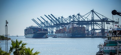 A vessel passing along the Houston Ship Channel near Port Houston's Bayport Container Terminal. (Photo: Business Wire)