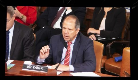 """Port Houston Chairman Ric Campo testifies before the U.S. House Ways and Means Committee on the importance of the Houston Ship Channel to """"Trade Infrastructure for Global Competitiveness."""" Photo courtesy: U.S. House of Representatives Ways and Means Committee"""