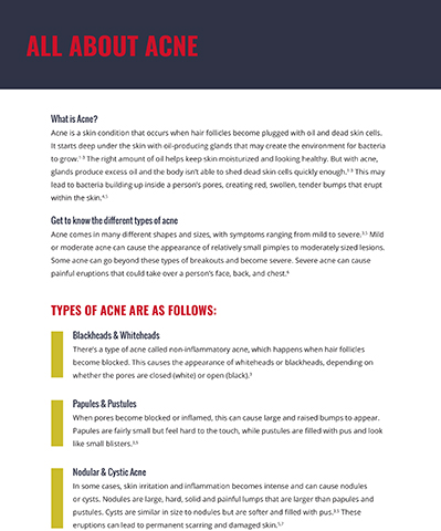 All About Acne. Get more information, tools and support at www.TakeOnAcne.com