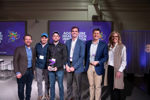 Capital Rx awarded Innovation Champion and Carrot Health awarded Top Innovator at the 2020 Accenture HealthTech Innovation Challenge. Pictured left to right: Brian Kalis, managing director of digital health and innovation at Accenture; AJ Loiacono, CEO of Capital Rx; Ryan Kelly, CTO of Capital Rx; Mike Hartwell, director of business development of Carrot Health; Kurt Waltenbaugh, CEO and founder of Carrot Health; Kristin Ficery, managing director of Accenture's North America provider practice. (Photo: Business Wire)