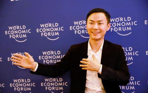 Tian Ning, Chairman and CEO of Panshi Group, was interviewed by the media at the Davos Forum (Photo: Business Wire)