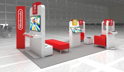 Nintendo Switch On The Go pop-up airport lounges feature opportunities for hands-on time with the Nintendo Switch and Nintendo Switch Lite systems. A visualization of the space at Dulles International Airport in Washington, D.C., open from Feb. 17- March 29, is pictured. (Graphic: Business Wire)