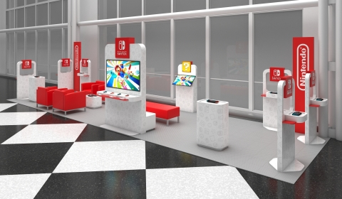 Beginning on Feb. 13, at select major airports across the U.S., Nintendo will be providing Nintendo Switch On The Go pop-up airport lounges featuring Nintendo products. A visualization of the space at O'Hare International Airport in Chicago, open from Feb. 17- March 29, is pictured. (Graphic: Business Wire)