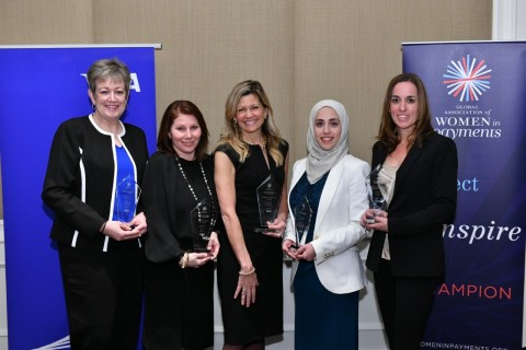 Mary Rosendahl, Bank of America, Cheryl Guerin, Mastercard, Talbott Roche, Blackhawk Network, Rawan Shawar, ACI Worldwide, Kimberly Lawrence, Visa, (not pictured: Monica Eaton-Cardone, Chargebacks 911) (Photo: Business Wire)