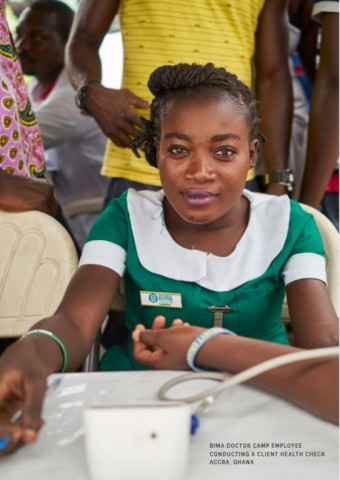BIMA Doctor Camp Employee conducting a client health check BIMA is one of LeapFrog Investment's portfolio companies Accra, Ghana (Photo: Business Wire)