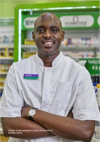 Dennis, Store Manager at GoodLife Pharmacy, one of LeapFrog Investment's portfolio companies Nairobi, Kenya (Photo: Business Wire)