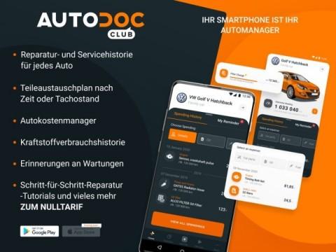 Mit der neuen Autodoc Club App kann jeder Fahrzeugbesitzer überall mit seinem mobilen Endgerät auf seine individuellen Fahrzeug- und Servicedaten zugreifen. (Photo: Business Wire)