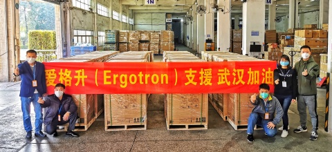 At Ergotron's facility in southern China, the company's StyleView medical carts are prepared for shipment to Wuhan. (Photo: Ergotron)
