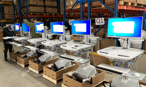In Wuhan, Ergotron's StyleView medical carts are readied for delivery to Huoshenshan and Leishenshan hospitals. (Photo: Ingram Micro China)