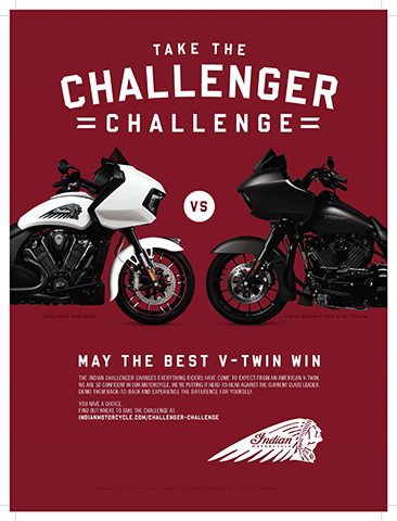 """""""May the best V-twin win."""" (Graphic: Indian Motorcycle)"""