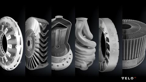 增材制造零件样本展现VELO3D独特的金属打印工艺如何产生以前无法实现的几何外形;应用包括航空、石油天然气、航空航天及其他工业市场。(照片:美国商业资讯)