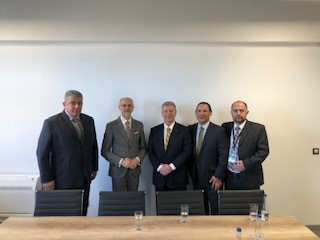 Goran Veljović, Sales and Marketing Director at E-Smart Systems; Goran Trivan, Serbia Minister of Environmental Protection; Peter Poulin, GRC CEO; Arthur Guerro, GRC Director of Business Development; Honorable Anthony F. Godfrey, U.S. Ambassador to Serbia (Photo: Business Wire)