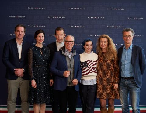 Martijn Hagman, Katrin Ley, Daniel Grieder, Tommy Hilfiger, Noor Tagouri, Willemijn Verloop and Steven Serneels (Photo: Business Wire)
