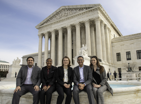 This week, five selected Corvias Foundation scholars and alumni took part in a three-day co-op program in D.C. Pictured here in front of the U.S. Supreme Court (left to right): Cody Long, Tisa Berry, Katelyn Mann, Sean Tolbert, and Brittany Broome. (Photo: Business Wire)