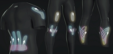 Wave Company is launching the kinesiology taping wear 'WaveWear' on Kickstarter on Feb 19, 2020. The WaveWear is the combination of compression performance wear and kinesiology taping. The bio-adhesive waved silicone, or BWAS (Bio Waved Adhesive Silicone) is built in the sportswear. BWAS adheres directly onto the skin and acts on muscles and joints to provide hassle-free kinesiology taping effect. The WaveWear is a new performance sportswear with unique features. It is the perfect choice for sports enthusiasts that regularly use sports taping or are interested in kinesiology taping. WaveWear comes in different sizes and options such as sleeveless shirt and full-length tights. (Photo: Business Wire)