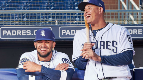 (L-R), Fernando Tatis and Manny Machado of the San Diego Padres. (Photo: Business Wire)