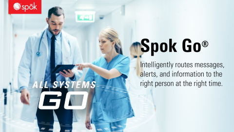 Spok is pioneering a new era of clinical communication and collaboration that goes well beyond today's solutions for secure messaging and clinical workflow. The Spok Go platform is purpose-built in the cloud for healthcare and gives hospitals and health systems the best in security, agility, and breadth and depth of services. (Graphic: Spok, Inc.)