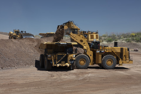 A CAT 793 autonomous haul truck at Caterpillar's Tinaja, Arizona, demonstration center. The fleet of autonomous CAT 793F mining trucks will be fully operational in 2021 at Newmont's Boddington mine in Australia and will be the first autonomous haulage system in an open pit gold mine in the world. (Photo: Business Wire)