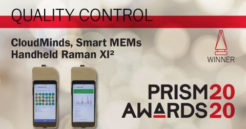 CloudMinds Smart Handheld MEMS Raman XI2 wins 2020 Prism Award in Quality Control (Prism Award logo courtesy of SPIE) (Graphic: Business Wire)