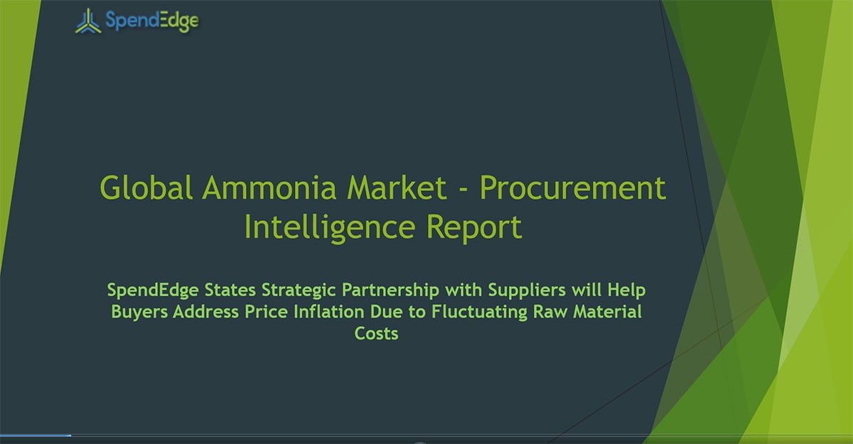 SpendEdge, a global procurement market intelligence firm, has announced the release of its Global Ammonia Market - Procurement Intelligence Report.