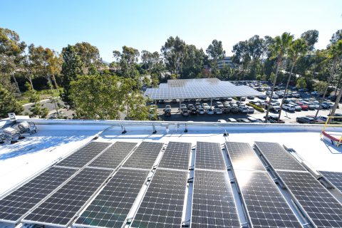 The integrated system of solar, storage and EV charging transforms EDF Renewables' rooftop and parking lot into a sustainable energy asset. (Photo: Business Wire)