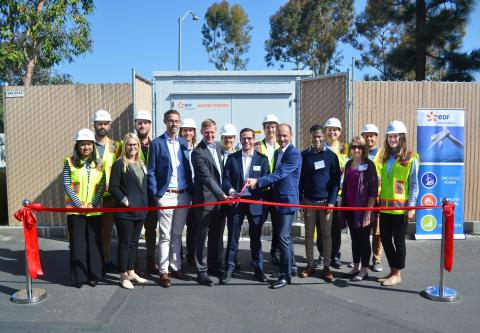 EDF Renewables marks the operation of its San Diego corporate headquarters microgrid. Patrick Kelly, Director of EV Operations, Raphael Declercq, EVP Distributed Solutions and Tristan Grimbert, President & CEO cut the ribbon. (Photo: Business Wire)