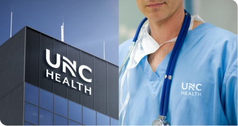 Mock-ups of the new UNC Health logo as it might be seen on buildings and scrubs (not actual photos). (Photo: Business Wire)