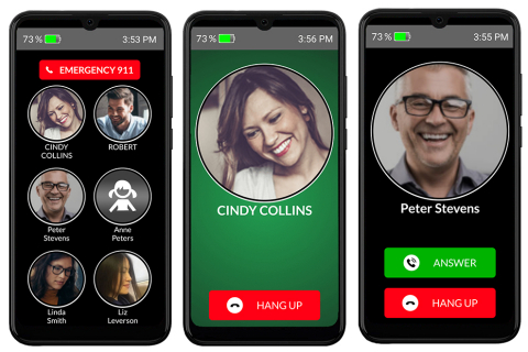 Relentless focus on simplicity - RAZ Memory Cell Phone home screen and active call screens (Photo: Business Wire)