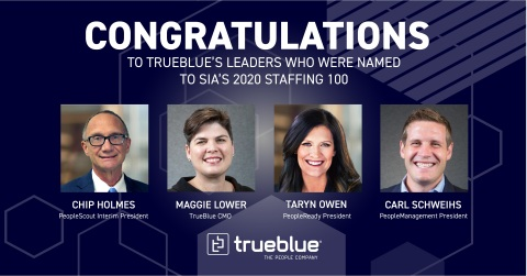 Four TrueBlue leaders were named to SIA's 2020 North America Staffing 100 (Photo: Business Wire)
