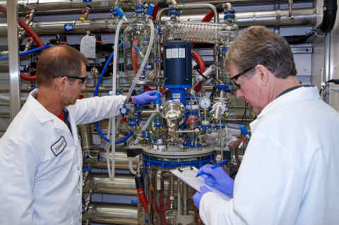 Two researchers checking process parameters at the reaction vessel of new Dipharma cGMP Kilolab, located at its CDMO site, Kalexsyn Inc., in Kalamazoo (MI), USA. (Photo: Business Wire)