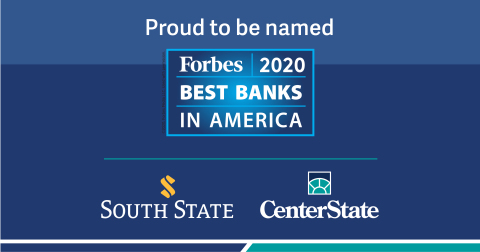 South State Bank and CenterState Bank are proud to be ranked in the top 50 of Forbes' Best Banks in America list. (Photo: Business Wire)