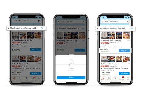 This new search filter lets users indicate their party size in their initial Yelp Waitlist restaurant search (Graphic: Business Wire)