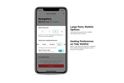 Yelp Waitlist now allows diners to choose their seating preference and accommodates parties of six or more (Graphic: Business Wire)