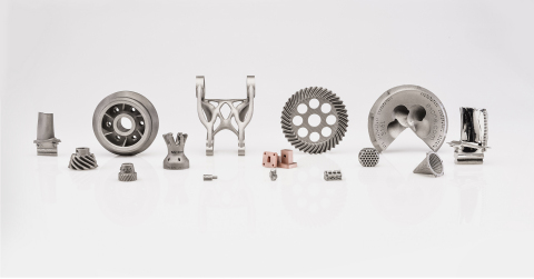 Metal 3D printers from The ExOne Company now binder jet 21 total materials, including 10 single-alloy metals, six ceramics, and five composite materials. Additionally, more than 24 materials are approved for controlled R&D printing. This photo showcases a variety of ExOne's qualified and R&D materials, including M2 Tool Steel, 316L, 304L, 17-74PH, copper, and Inconel 625. (Photo: Business Wire)