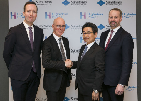 Listed from left to right: Highview Power President and CEO, Dr. Javier Cavada; Highview Power Chairman, Colin Roy; Sumitomo SHI FW Chairman, Eiji Kojima; and Sumitomo SHI FW CEO, Tomas Harju-Jeanty. (Photo: Business Wire)