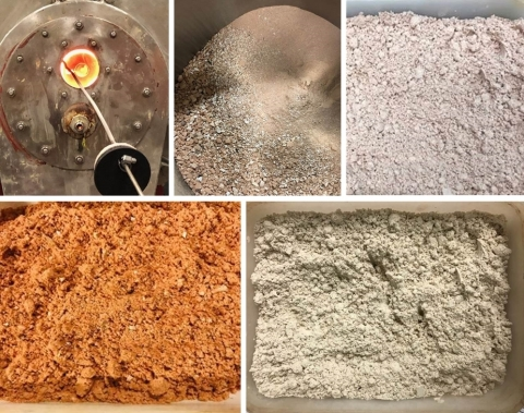 Spodumene calcination and roasting (from left to right) – (top) pilot kiln, calcined product, milled beta spodumene (bottom) beta spodumene after mixing, beta spodumene after roasting (Photo: Business Wire)