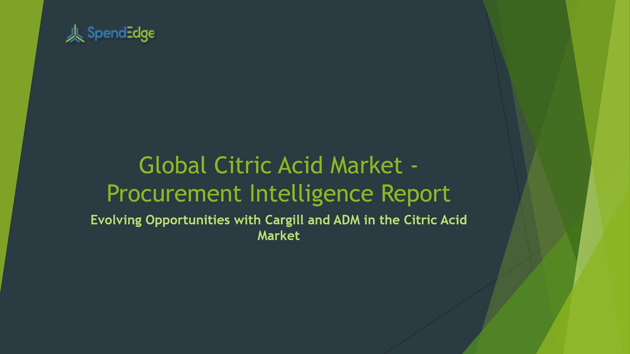 SpendEdge, a global procurement market intelligence firm, has announced the release of its Global Citric Acid Market - Procurement Intelligence Report.