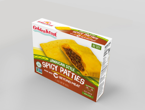 Golden Krust Plant-Based Spicy made with Beyond Meat packaging - available to ship on June 1, 2020. (Photo: Business Wire)