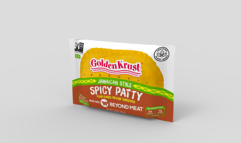 Golden Krust Plant-Based Spicy made with Beyond Meat Individual - available to ship on June 1, 2020. (Photo: Business Wire)