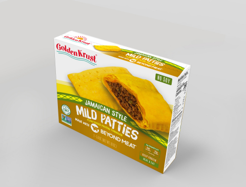 Golden Krust Plant-Based Mild made with Beyond Meat packaging - available to ship on June 1, 2020. (Photo: Business Wire)