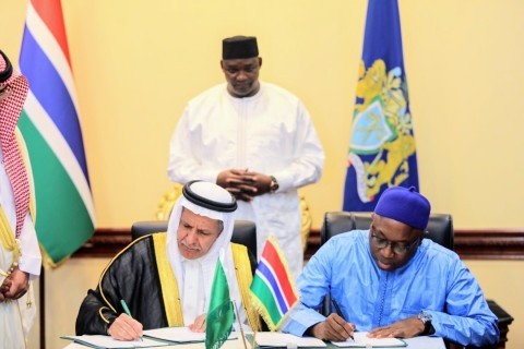 H.E. Eng. Yousef Al-Bassam, SFD Adviser signed the agreement with the Gambian Minister of Finance and Economic Affairs, Hon. Mamboury Njie (Photo: AETOSWire)