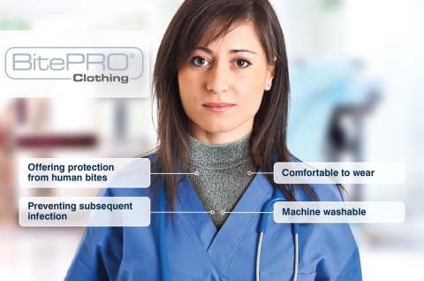 Healthcare nurse wearing BitePRO® Bite Resistant Clothing (Photo: Business Wire)