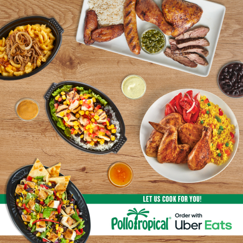 Pollo Tropical announced today that it is now available for delivery through Uber Eats, giving guests another way to get their favorite 24-hour citrus marinated chicken and customized TropiChops delivered right to their doorstep. To celebrate the launch, Pollo Tropical will be offering free delivery* this weekend from Friday through Sunday. (Photo: Business Wire)