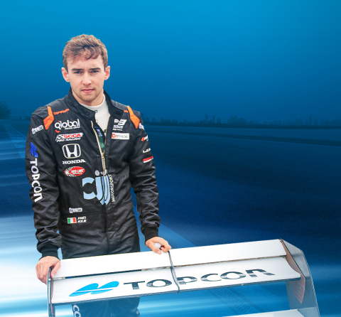 Formula 3 driver James Roe Jr. will join Topcon at CONEXPO 2020 to share his perspectives of how road resurfacing technology is helping make tracks smoother for faster and safer racing. (Photo: Business Wire)