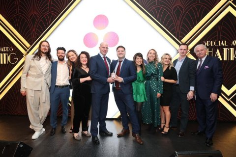 Asana Dublin team members at the 18th annual Great Place to Work Best Workplaces in Ireland awards celebration in Dublin. Asana has been recognized as the #7 company on the 2020 list of the Best Small and Medium Workplaces in Ireland. (Photo: Business Wire)