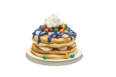 Cap'n Crunch's Crunch Berries® Pancakes are buttermilk pancakes topped with cereal milk mousse, blue vanilla sparkle sauce, Cap'n Crunch's Crunch Berries® cereal and a crown of whipped topping. (Photo: Business Wire)