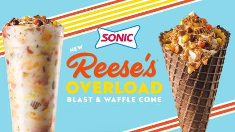 SONIC® Drive-In overloads its menu with two new dessert options: the Reese's Overload Waffle Cone and Blast. (Photo: Business Wire)