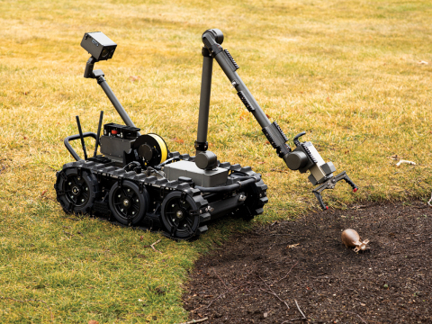 U.S. Air Force teams will use the FLIR Centaur robot to help disarm improvised explosive devices, unexploded ordnance, and perform similar hazardous tasks. Multiple sensors and payloads can be added to the 160-lb. Centaur to support other missions. (Photo: Business Wire)