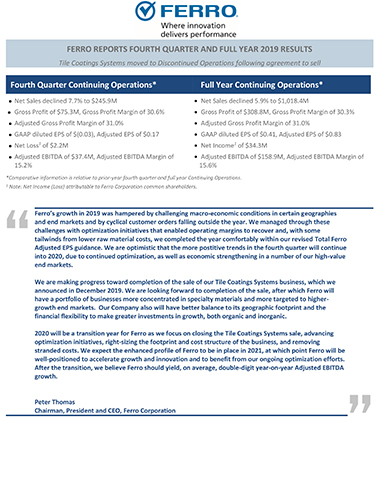 Ferro Reports Fourth Quarter and Full Year 2019 Results