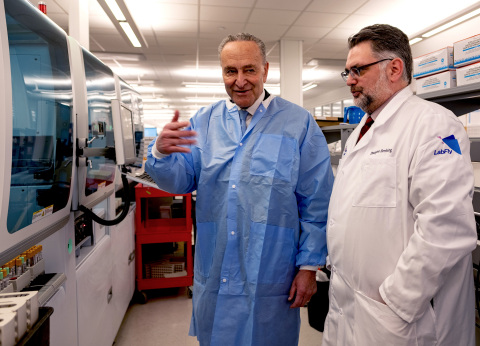 Sen. Chuck Schumer and Northwell Health's Dr. Dwayne Breining tour Northwell Health's Core Lab in Lake Success, NY on March 2. Northwell will begin testing for COVID-19 this week.